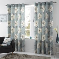 Isabel Floral Fully Lined Eyelet Curtains - Duck Egg Blue