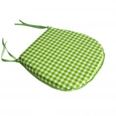 Gingham Check Tie On Seat Pad - Mint Green