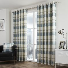 Balmoral Check Fully Lined Eyelet Curtains - Teal Blue