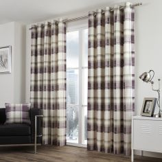 Balmoral Check Fully Lined Eyelet Curtains - Plum Purple
