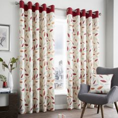 Beechwood Leaf Fully Lined Eyelet Curtains - Red