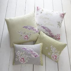 Jade Floral Filled Boudoir Cushion - Stone