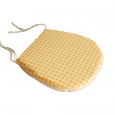 Gingham Check Tie On Seat Pad - Lemon Yellow
