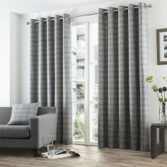 Braemar Woven Brushed Check Fully Lined Eyelet Curtains - Charcoal Grey