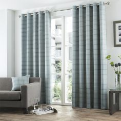 Braemar Woven Brushed Check Fully Lined Eyelet Curtains - Duck Egg Blue