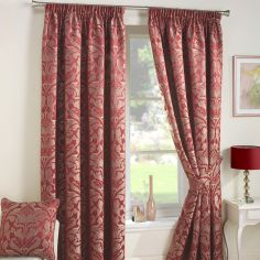 Crompton Jacquard Fully Lined Tape Top Curtains - Red