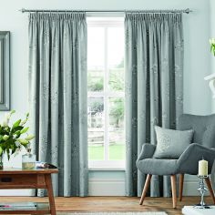 Flora Fully Lined Tape Top Curtains - Dove Grey