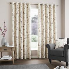 Hemsworth Floral Fully Lined Eyelet Curtains - Raspberry Pink