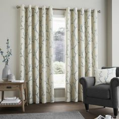 Hemsworth Floral Fully Lined Eyelet Curtains - Duck Egg Blue