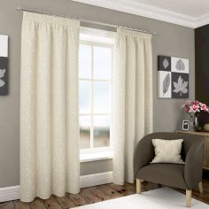 Harrogate Embroidered Leaf Fully Lined Voile Curtains - Ivory Cream