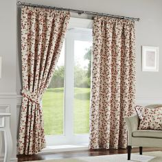 Oakhurst Floral Fully Lined Tape Top Curtains - Terracotta Orange