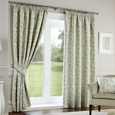 Oakhurst Floral Fully Lined Tape Top Curtains - Duck Egg Blue