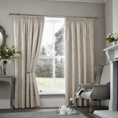 Palmero Floral Jacquard Thermal Blackout Tape Top Curtains - Cream