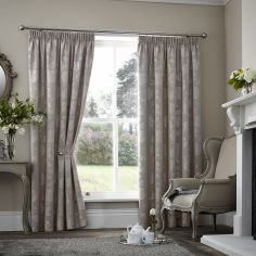 Palmero Floral Jacquard Thermal Blackout Tape Top Curtains - Taupe Natural