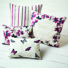Sakura Floral Striped Cushion Cover - Cranberry Red