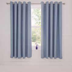 Rathmoore Thermal Lined Ring Top Curtains - Blue