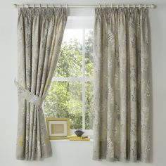 Haze Floral Lined Tape Top Curtains - Yellow