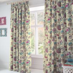 Marinelli Floral Lined Tape Top Curtains - Multi