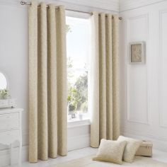 Ebony Floral Eyelet Lined Curtains - Natural