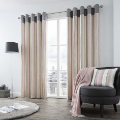 Rydell Stripe Fully Lined Eyelet Curtains - Blush Pink