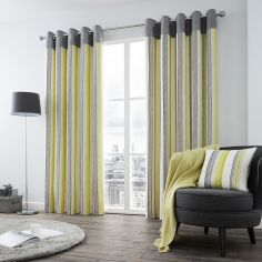 Rydell Stripe Fully Lined Eyelet Curtains - Lime Green