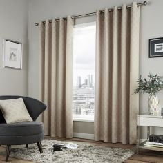 Denby Geometric Lined Eyelet Curtains - Natural