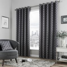 Denby Geometric Lined Eyelet Curtains - Charcoal Grey