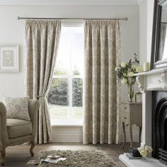 Luxury Ashford Jacquard Tape Top Curtains - Natural
