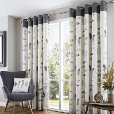 Idaho Feather Fully Lined Eyelet Curtains - Charcoal Grey