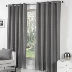 Sorbonne Fully Lined Eyelet Curtains - Charcoal Grey