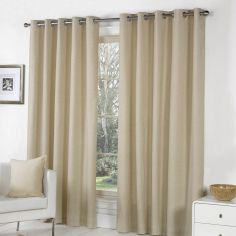 Sorbonne Fully Lined Eyelet Curtains - Natural