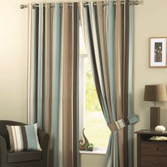 Whitworth Striped Fully Lined Eyelet Curtains - Duck Egg Blue