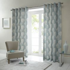 Woodland Trees Fully Lined Eyelet Curtains - Duck Egg Blue