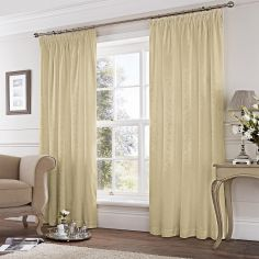 Cotton Rich Jacquard Fully Lined Tape Top Curtains - Cream