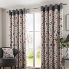 Copeland Leaf Fully Lined Eyelet Curtains - Red & Grey