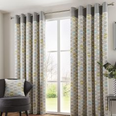 Copeland Leaf Fully Lined Eyelet Curtains - Duck Egg Blue