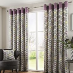 Copeland Leaf Fully Lined Eyelet Curtains - Heather Pink