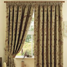 Maybury Floral Fully Lined Tape Top Curtain - Terracotta