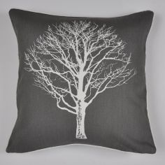 Woodland Trees Cushion Cover - Charcoal Grey