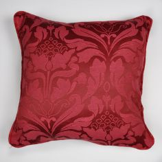 Cotton Rich Jacquard Cushion Cover - Burgundy Red