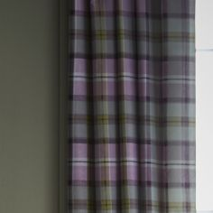 Heritage Kelso Check Fully Lined Eyelet Curtains - Heather Pink