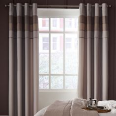 Ombre Ribbed Bands Fully Lined Eyelet Curtains - Natural