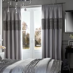 Corded Velvet Band Fully Lined Tape Top Curtains - Silver Grey