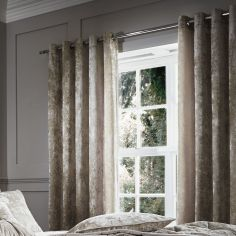 Luxury Crushed Velvet Fully Lined Eyelet Curtains - Natural Cream