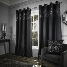 Glitzy Sequin Fully Lined Eyelet Curtains - Black