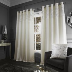 Glitzy Sequin Fully Lined Eyelet Curtains - Cream