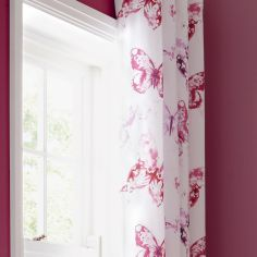 Butterfly Pink Fully Lined Eyelet Curtains