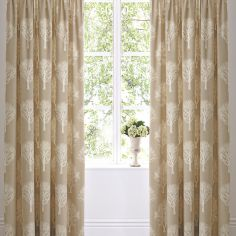 Woodland Trees Fully Lined Eyelet Curtains - Natural