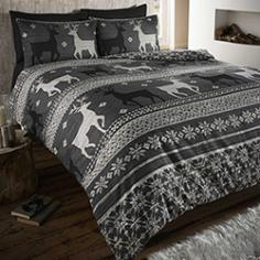 Helsinki Thermal Flannelette Grey Duvet Cover Set