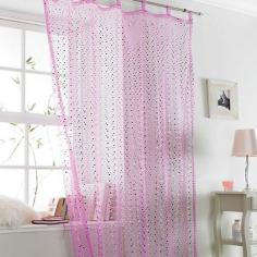 Popsicle Pink Sparkle Voile Curtain Panel